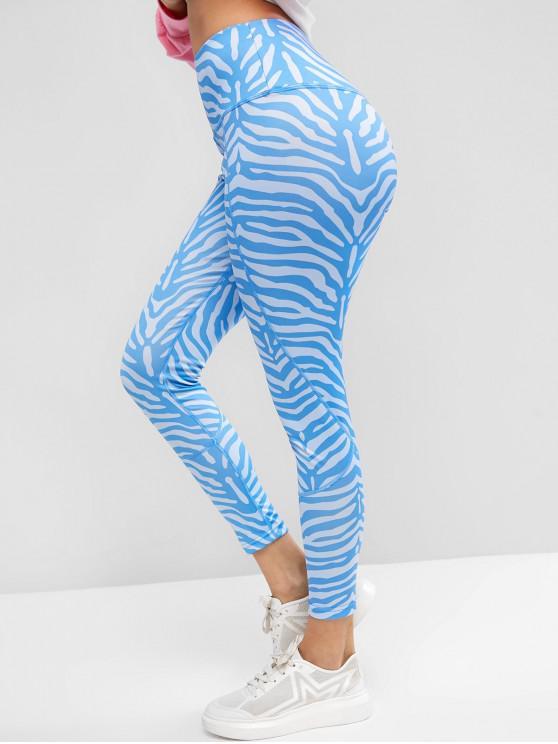 Puxar cintura alta em leggings de impressão de zebra - Azul S