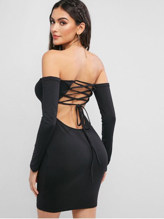 women Lace Up Back Off Shoulder Bodycon Dress - BLACK L