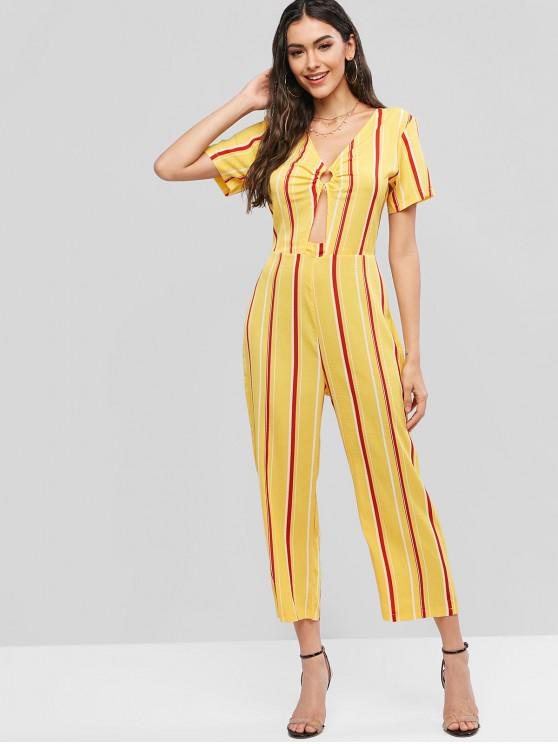 best Striped O-ring V Neck Straight Jumpsuit - MULTI-A XL