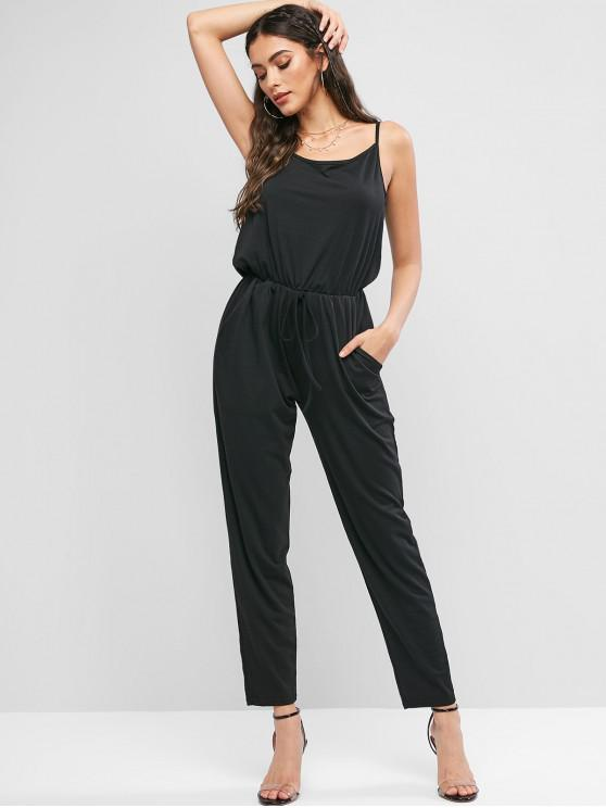 latest Knotted Solid Cami Jumpsuit with Pockets - BLACK S