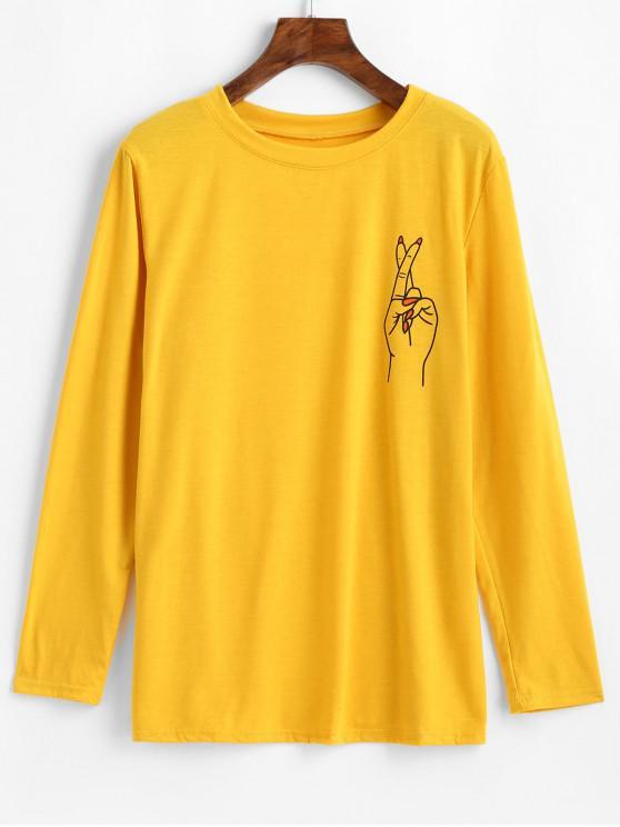 Camiseta básica con gráfico de gesto de manga larga - Vara de Oro XL