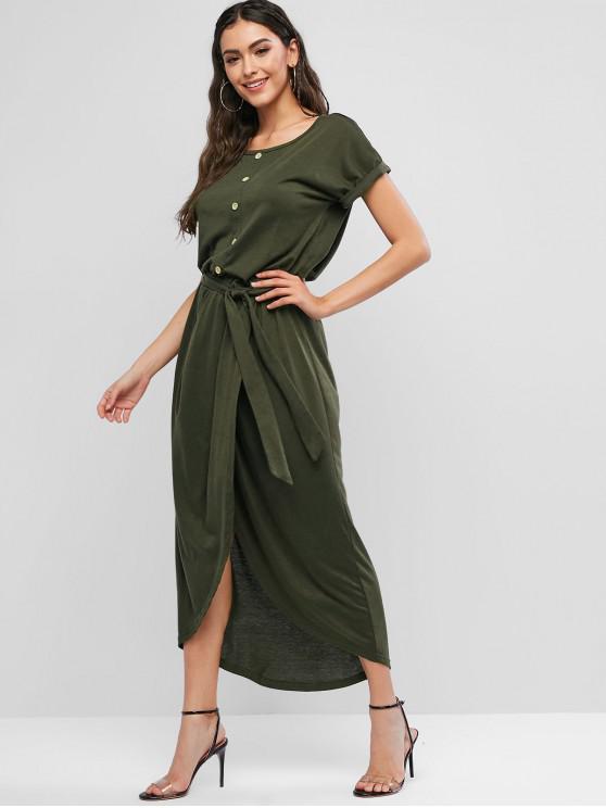 Botones superpuestos mangas con cinturón vestido superpuesto - Ejercito Verde L