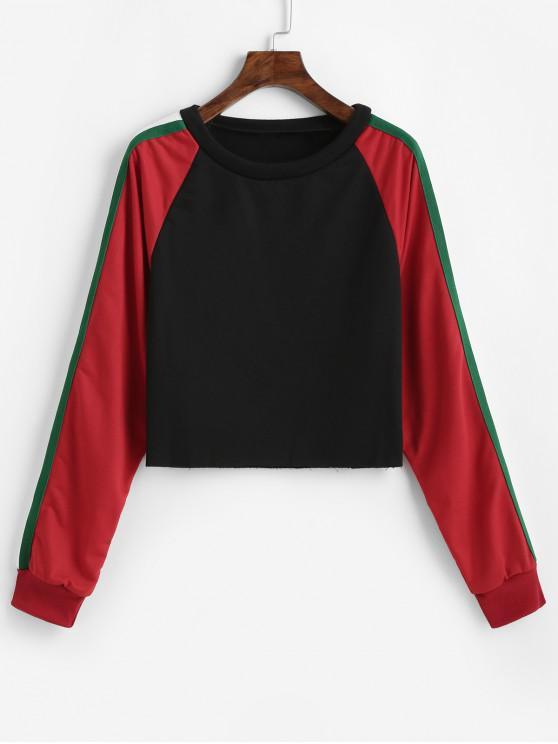 ladies Raglan Sleeve Stripes Panel Color Block Sweatshirt - MULTI L