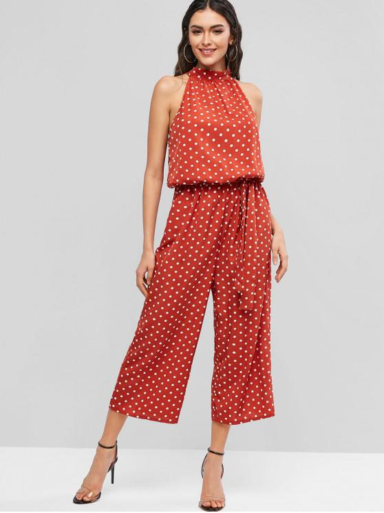 outfit Cut Out Polka Dot Belted Wide Leg Jumpsuit - RED S