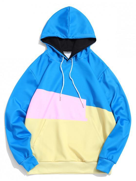 hot Color Block Spliced Kangaroo Pocket Basic Hoodie - MULTI 2XL