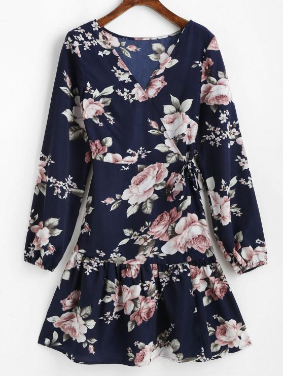 women ZAFUL Long Sleeve Floral Mini Wrap Dress - MIDNIGHT BLUE M