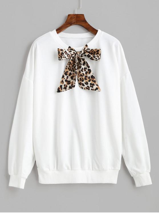 online Drop Shoulder Leopard Panel Bow Tie Sweatshirt - WHITE S