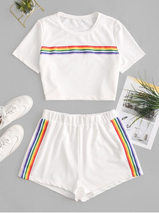 latest ZAFUL Rainbow Striped Patched Crop Two Pieces Suit - WHITE XL