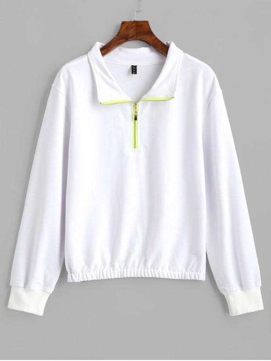 ZAFUL Sweatshirt Demi-Zip à Ourlet Elastique - Blanc M