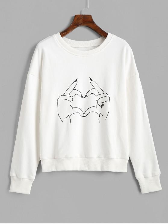 new ZAFUL Pullover Gesture Heart Graphic Sweatshirt - WHITE S