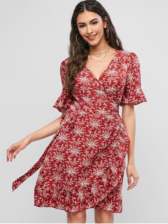 chic ZAFUL Tiny Floral Ruffles V Neck Wrap Dress - RED WINE XL