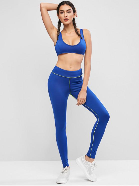 fashion Contrast Piping Cropped Gym Two Piece Set - OCEAN BLUE L