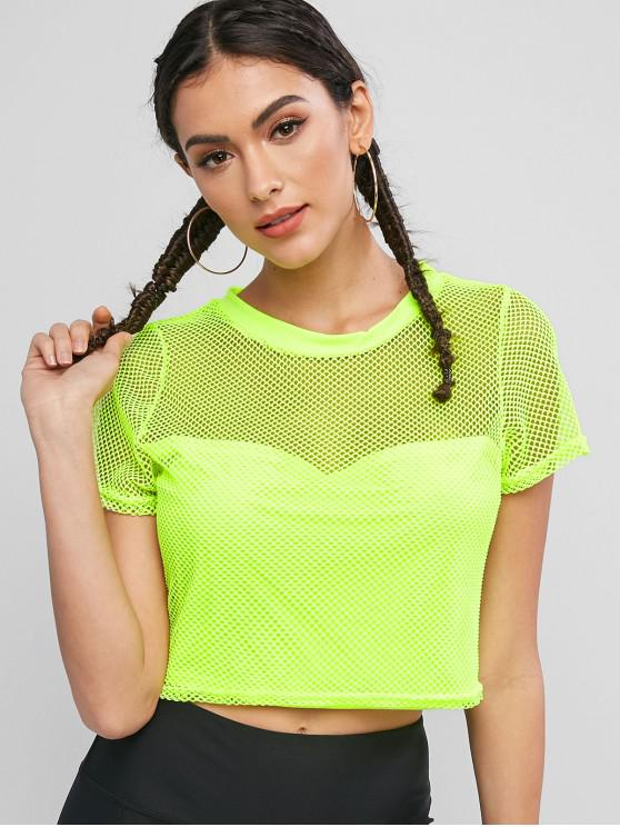 Camiseta de malla deportiva cortada de neón - Verde S