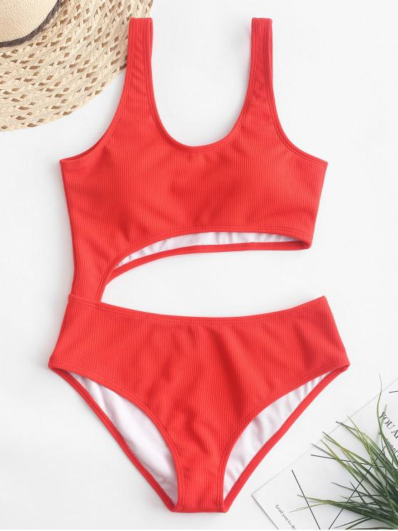 sale ZAFUL Ribbed Cut Out One-piece Swimsuit - BRIGHT ORANGE M