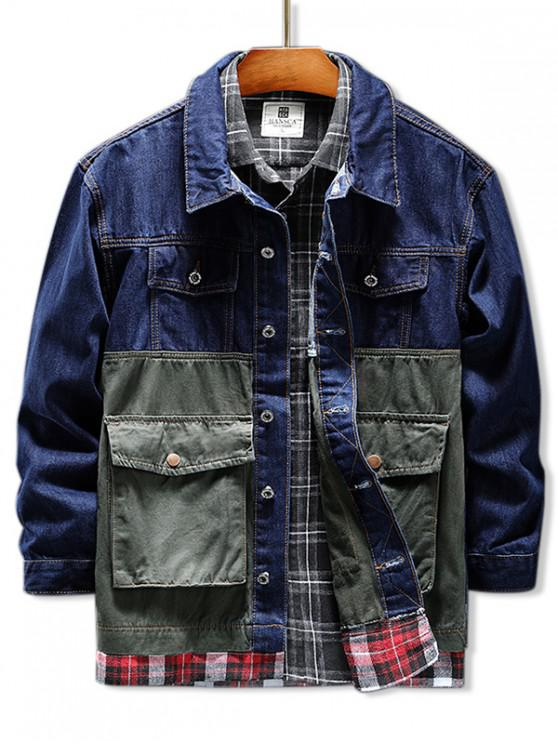 fancy Camouflage Letter Flap Pocket Plaid Splicing Jean Jacket - DENIM DARK BLUE S
