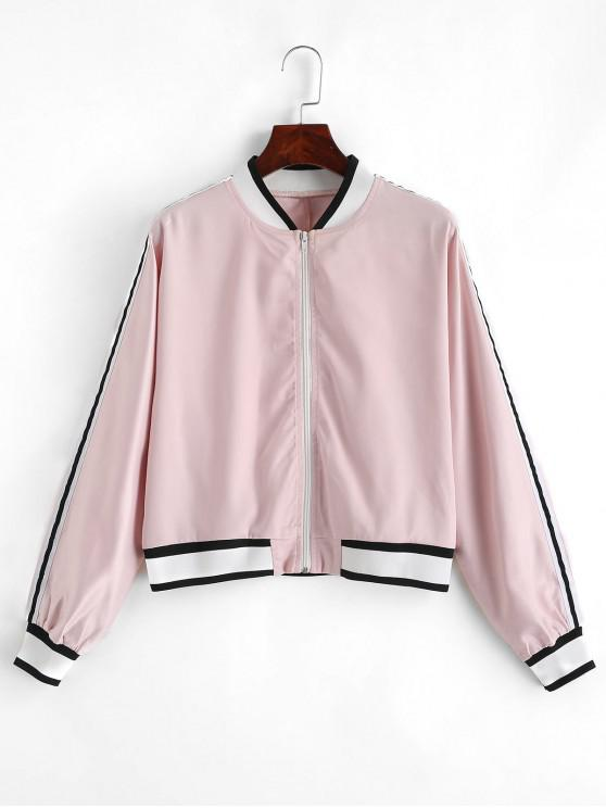 women's ZAFUL Striped Patched Zip Up Satin Jacket - PINK S