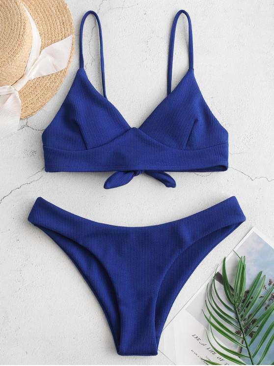 outfit ZAFUL Ribbed Tie Back Cami Bikini Swimsuit - COBALT BLUE M
