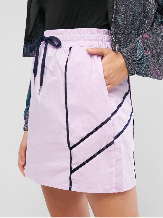 trendy Piping Drawstring Pocket A Line Skirt - MAUVE L