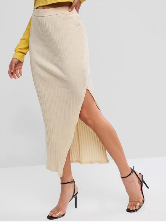 online Slit Ribbed Solid Maxi Skirt - CORNSILK L