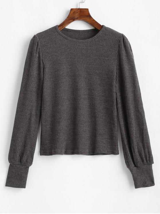 fashion Long Sleeve Plain Ribbed Knit Top - BATTLESHIP GRAY M