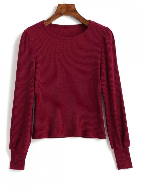 new Long Sleeve Plain Ribbed Knit Top - RED WINE XL