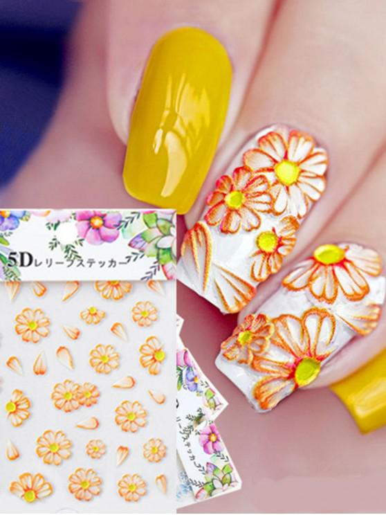 affordable Daisy Flower Pattern Nail Decals - GOLDEN BROWN