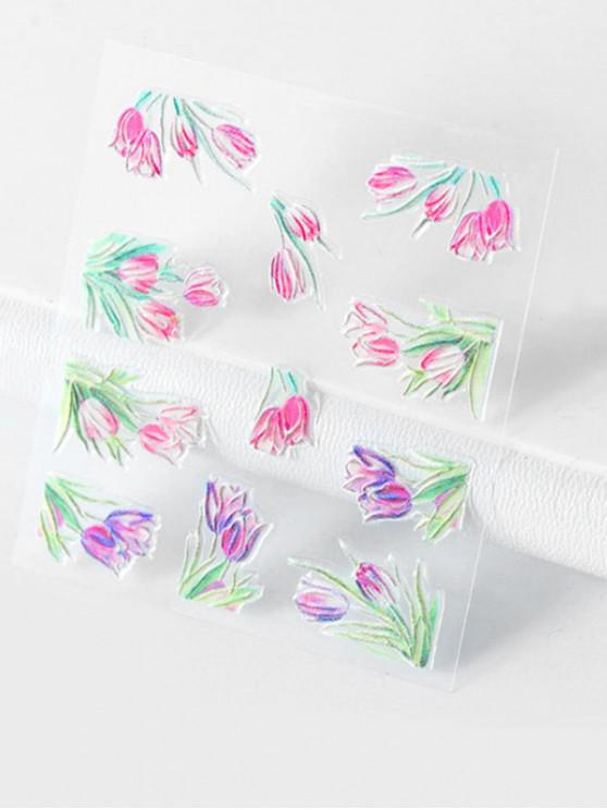 buy Plant Flower Pattern Nail Decals - MULTI-A