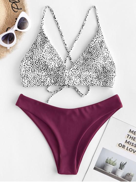 ZAFUL Bikini de Corte Alto con Lunares con Estampado de Flor - Marrón M