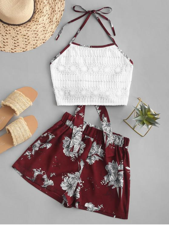 fashion Lace Panel Tied Back Floral Two Piece Set - RED WINE L