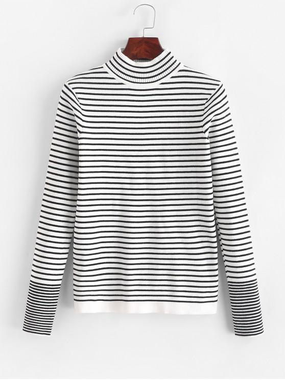 trendy Stripes Mock Neck Pullover Slim Sweater - MULTI ONE SIZE