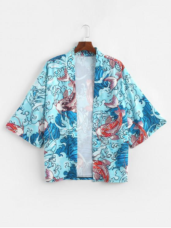 fashion Sea Wave Koi Print Open Front Kimono Cardigan - LIGHT SLATE 2XL