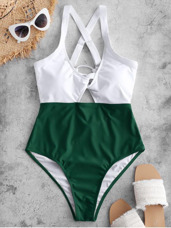 shop ZAFUL Color Blocking Criss Cross Cut Out Swimsuit - MEDIUM SEA GREEN M