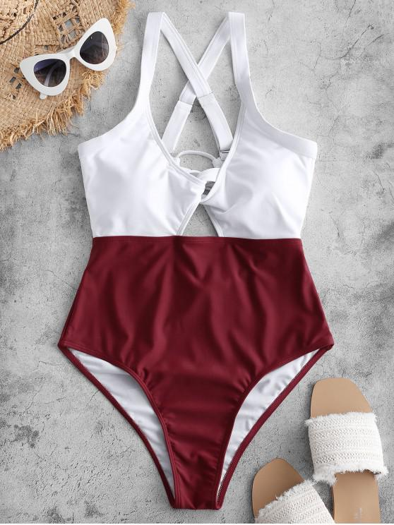 ladies ZAFUL Color Blocking Criss Cross Cut Out Swimsuit - RED WINE L