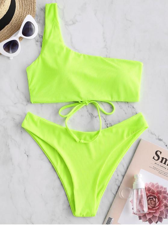 new ZAFUL Ribbed Lace Up One Shoulder Bikini Swimwear - GREEN YELLOW L