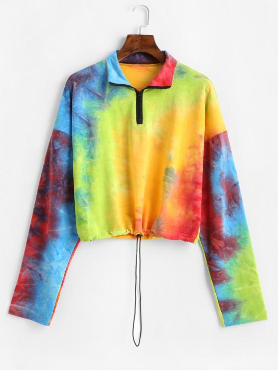 new ZAFUL Drawstring Rainbow Tie Dye Half Zip Sweatshirt - MULTI L