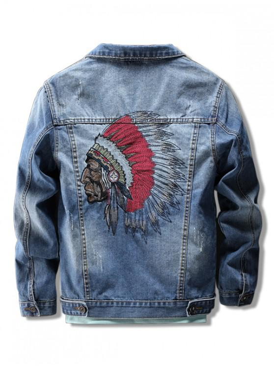 latest Indian Character Embroidery Scratch Chest Pocket Denim Jacket - BLUE L