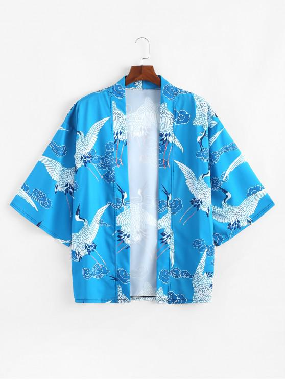 hot Flying Crane Pattern Print Open Front Kimono Cardigan - SILK BLUE 2XL