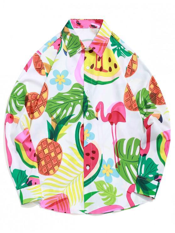 sale Flamingo Pineapple Watermelon Tropical Print Beach Vacation Shirt - MULTI S