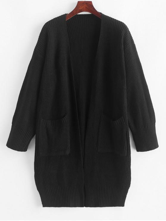 affordable Longline Open Front Pockets Slit Cardigan - BLACK ONE SIZE