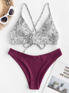 ZAFUL Dalmatian Dot Crisscross High Leg Bikini Swimsuit - Maroon M
