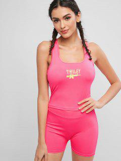 Neon Embroidered Racerback Sports Two Piece Set - Neon Pink S