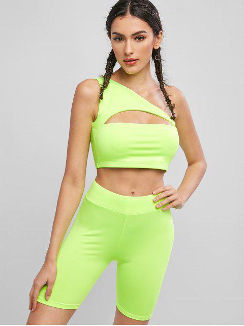 Conjunto de pantalones cortos de neón para ciclista con corte en los hombros - Té Verde M Mobile