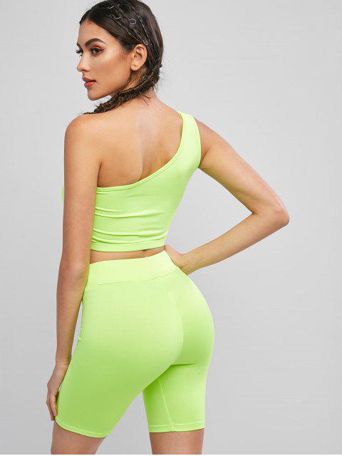 Conjunto de pantalones cortos de neón para ciclista con corte en los hombros - Té Verde L Mobile
