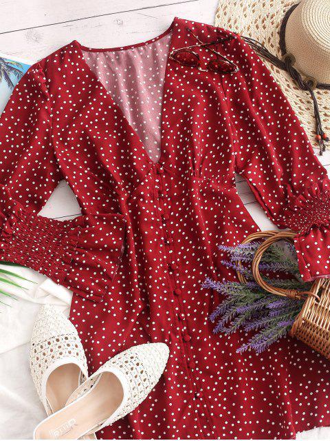 Robe Evasée Plissée à Pois avec Bouton - Rouge L Mobile