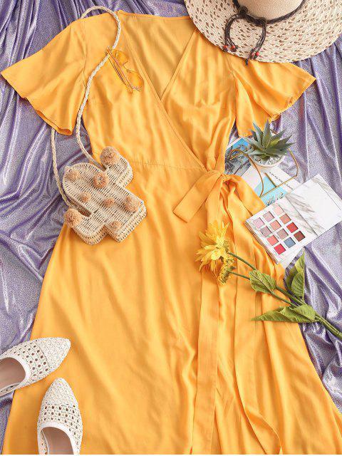 ZAFUL Maxi Robe Enveloppée en Couleur Unie - Jaune Clair XL Mobile