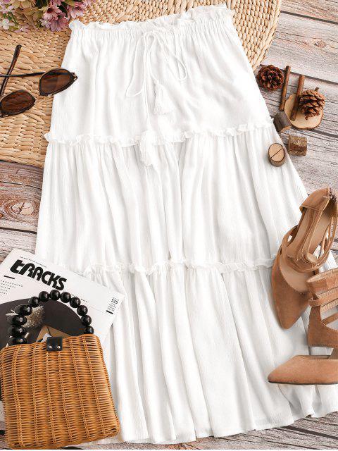 latest ZAFUL Lettuce Trim Self Tie Tassels Midi Dress - MILK WHITE L Mobile