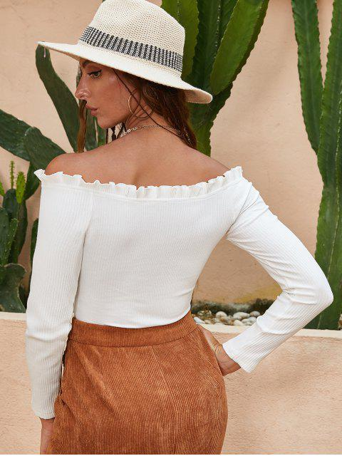 best ZAFUL Lettuce Trim Ribbed Off Shoulder Top - MILK WHITE XL Mobile