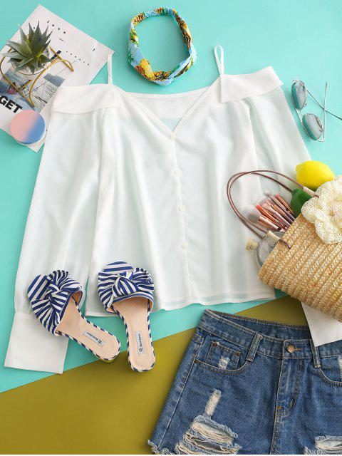 women ZAFUL Solid Buttoned Front Cold Shoulder Top - WHITE XL Mobile