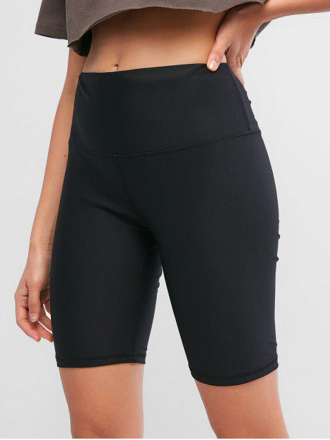 shops Stitching Solid High Waisted Biker Shorts - BLACK L Mobile