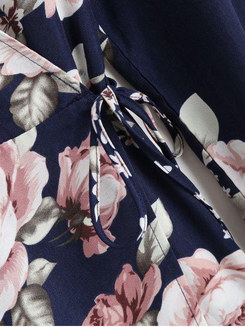 ZAFUL Mini Robe Enveloppée Fleurie à Manches Longues - Bleu de Minuit L Mobile